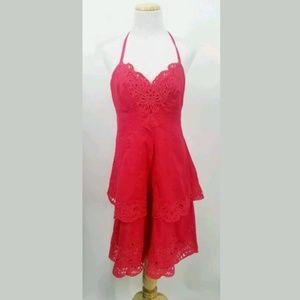 Karen Millen Size 6 Hot Pink Eyelet Halter Dress